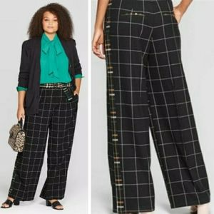 Who What Wear Minimalist Plaid Straight Trousers